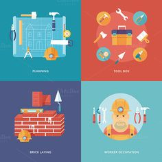 Construction and building icons set by painterr on Creative Market
