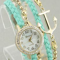 The Mint Anchor Bracelet Watch is a pre-order. The White Anchor Bracelet Watch is in stock. Hippie Style, My Style, Jewelry Box, Jewelry Accessories, Fashion Accessories, Diamond Are A Girls Best Friend, Girly Things, Bracelet Watch, Bling