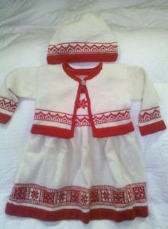 Ravelry: Marji's Emma's snowflake ensemble Dale of Norway Baby Ull yarn Dress With Cardigan, Baby Cardigan, Baby Knitting Patterns, Baby Patterns, Norwegian Knitting, Children In Need, Ravelry, Knit Crochet, Baby Kids