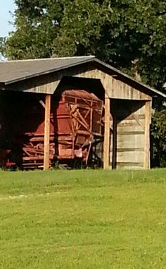 Some farm implements barely fit in the barn... =)
