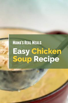 There are loads of times when a nice chicken soup recipe is just what you need. But it doesn't have to be complicated! Check out this simple and easy chicken soup recipe to make on the stove and have it whenever you want Homemade Cream Of Chicken Soup Recipe, Homemade Soup, Best Soup Recipes, Healthy Soup Recipes, Asian Chicken Recipes, Clean Eating Chicken, Stuffed Whole Chicken, Chicken Seasoning, Casserole Dishes