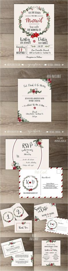 Pinecone and red berry themed Christmas Wedding invitations