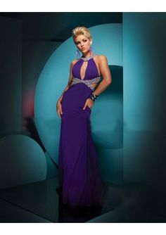 Jersey Halter V Neckline Sheath Gown with Beaded Trim and Skirt with High Side Split 2011 Hot Sell Prom Dress