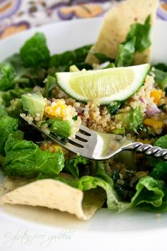 mexican quinoa salad. when i made it i didnt serve it over lettuce or add the chips. really didnt need it.  one of my fave salads right now