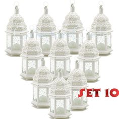 Lot of 10 White Moroccan Candle Lantern Chic Wedding Party Centerpieces…