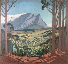 Part of the Johannesburg Railway Station panels by Jacobus Hendrik Pierneef My Fantasy World, South African Artists, Landscape Paintings, Landscape Art, Bunt, Art Drawings, Illustration Art, Artwork, Drawing Trees