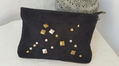 Wildstar studded Suede Clutch bag Black Clutch Bags, Leather Clutch Bags, Black Leather, Throw Pillows, Black Patent Leather, Cushions, Decor Pillows, Decorative Pillows