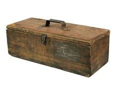 Vintage Wooden Tool Box / Handmade Rustic Wood Primitive Storage Box / Garden Box