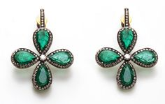 Ameapali Zambian emerald and diamond four leaf earrings