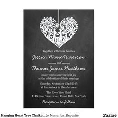 Hanging Heart Tree Chalkboard Wedding Collection 5x7 Paper Invitation Card
