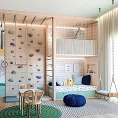 A kids playroom that has it all. Adventures await all children in here with a climbing wall, seeing, teepee, acrobatic ring and bar. Playroom Design, Kids Room Design, Master Room Design, Cool Kids Rooms, Play Room For Kids, Boys Playroom Ideas, Garage Playroom, Children Playroom, Creative Kids Rooms