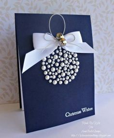 "Gorgeous ""Warmest Wishes"" Christmas Pearl Bauble Card...love the simplicity & the elegance of this design. By billieprd-Kylie - Cards and Paper Crafts at Splitcoaststampers."