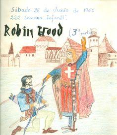 """Cartell il·lustrat, per informar de l'hora del conte programada pel dia 26 de juny de 1965 en la biblioteca Pare Miquel d'Esplugues. El títol de la narració fou: """"Robin Hood (3a part)"""""""