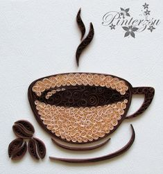 Cup of coffee by pinterzsu - # coffee - Quilling Paper Crafts Arte Quilling, Paper Quilling Cards, Quilling Work, Paper Quilling Tutorial, Paper Quilling Patterns, Quilled Paper Art, Quilling Craft, Diy Paper, Paper Crafts