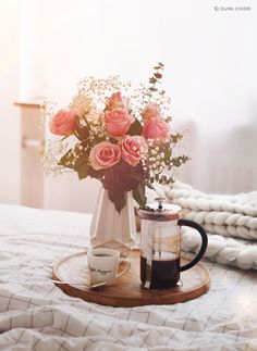 coffee french press sun and roses - cozy morning!