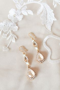 Gold and Cream Crystal Bridal Earrings