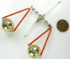 Old Blown Glass Bead Wired Czech Christmas Decoration Scales Libra Red 4""