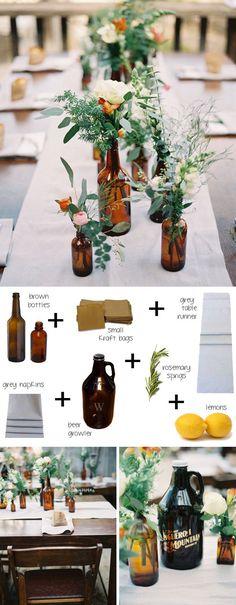 Create a stylish dinner atmosphere by using brown bottles as vases. // Aus braunen Apothekergläsern werden schnell tolle DIY Vasen für die stimmungsvolle Tischdekoration. #enjoysiemens #BohoWeddingIdeas