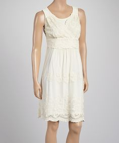 Look what I found on #zulily! Ivory Lace Surplice Sleeveless Dress by Rabbit Rabbit Rabbit Designs #zulilyfinds