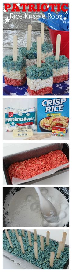 Patriotic Rice Krispie Pops - Red, White and Blue Treats Patriotic Rice Krispie Pops Recipe. This Red, White & Blue Food idea is a perfect July recipe or memorial day idea for kids. It is so easy to make and only has a couple ingredients! 13 Desserts, 4th Of July Desserts, Fourth Of July Food, Delicious Desserts, July 4th, Dessert Recipes, Rice Crispy Treats, Krispie Treats, Rice Krispies
