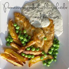 Parmesanpanerad kycklingschnitzel  (4 portioner)  4-5 kyckling minutfiléer (tunnare kycklingfiléer eller så gör man jobbet själv och dela...