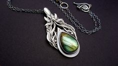 Handcrafted Fine Silver Pendant With Labradorite - A dream withing a dream… Jewelry Art, Gemstone Jewelry, Jewellery, Sun Designs, Metal Clay, Silver Pendant Necklace, Ancient Art, Vintage Gifts, Handcrafted Jewelry