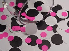 Black White and Hot Pink Paper Confetti Dots - Die Cuts - Scrapbooking Embellishments - 1 Inch and 1/2 Inch circles - Paper Punches (Set of 400 pieces) - Wedding confetti (*Amazon Partner-Link)