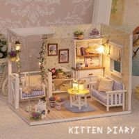 Miniature Dollhouse Furnitures Wooden Toy DIY Doll House Miniature Room Cute Cat House For Dolls Birthday Gift Toys For Children