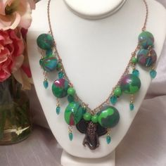 """Handmade Polymer Clay Necklace Handmade by me... Polymer Clay beads, Copper chain, elephant, glass Czech leaf beads, lobster claw clasp.  Measuring 26"""" inches. JewelryByShari Jewelry Necklaces"""