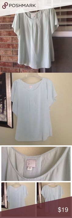 """Anthro flowy top By Postmark for Anthropologie.  Great condition!  So pretty with flowy short sleeves, this top is a very pale mint green (hard to capture in photos).  Pull over styling, 100% polyester.  From shoulder the length is 26"""" and the chest is 19"""".  Machine wash cold, hang dry. Anthropologie Tops Blouses"""