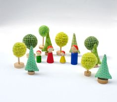 Crochet gold yellow Tree  - 3 pcs, Fairy Forest toys for playscape, eco friendly toys. €18.00, via Etsy.