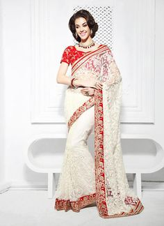 White With Red Netted Crystals Work Sarees Online ,Veeshack.com | Fashion for the World - 1