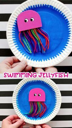 Ocean Kids Crafts, Summer Crafts For Kids, Diy For Kids, Summer Kids, Whale Crafts, Creative Ideas For Kids, Button Crafts For Kids, Sea Animal Crafts, Funny Crafts For Kids