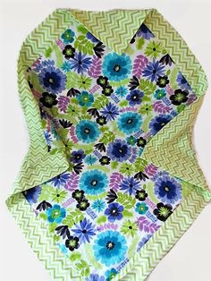 Baby Girl Blanket Or Lap Blanket Floral With Lime Chevron