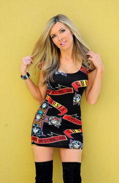 Guns And Roses Skull Fitted Bodycon 80's 90' Groupie Metal Glam Rock Mini Dress