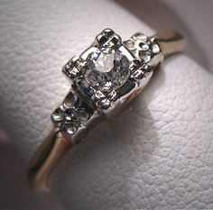 Antique Wedding Ring Euro Diamond Vintage Art by AawsombleiJewelry,