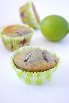 Muffins au citron vert et framboises