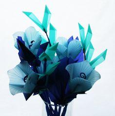 Blue Bells - Elegant Origami Flowers Handmade with unique Translucent Origami Paper - Full Bouquet