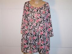 FOREVER 21 Tunic Top L Sheer Floral Open Back 3/4 Sleeves #FOREVER21 #Tunic #Casual