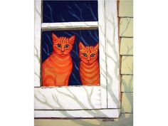 Whimsical Orange Cats Window Reflection 11x14 Glicee print. Two orange cats look out with amazement on the wonders of the outside world and think of the possibilities that lie beyond in this high quality glicee print from an original painting titled Inside Looking Out by  Rebecca Korpita. Image measures 11 x 14 inches and will come with a 1/2 inch white border for ease of matting and framing.
