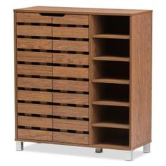Baxton Studio Shirley Modern and Contemporary 2 – Door Shoe Cabinet with Open Shelves – Walnut Brown - Schuhschrank