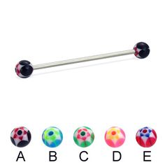 Long barbell (industrial barbell) with acrylic star balls, 14 ga.  #industrial…