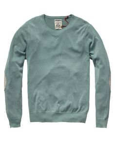 Summer crew neck pull with elbow patches in green