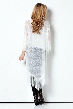 Off to the Laces Fringe + Lace Kimono - Off White