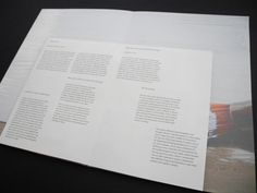 12: Spread 4/Broadsheet. Middle sequence of booklet with broadsheet sewn to the spine. This is the first stage of unfolding the sewn in broadsheet. It discusses my project rationales and begins to discuss my design process.