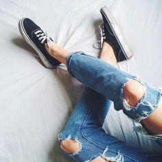 vans authentic + ripped boyfriend jeans
