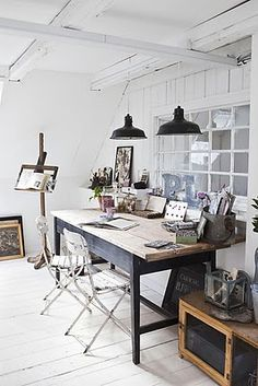Black and white, wood and industrial workspace Vintage: 101 Idées