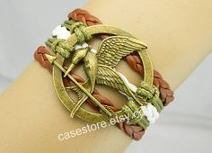 Mockingjay pin braceletbrown white leather by charmcover on Etsy, $7.99