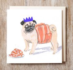 Christmas Card Pug in Blanket Holiday  by joclarkdesign on Etsy