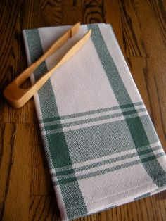 Towel Handwoven Green and White Stripe by ThistleRoseWeaving, $25.00